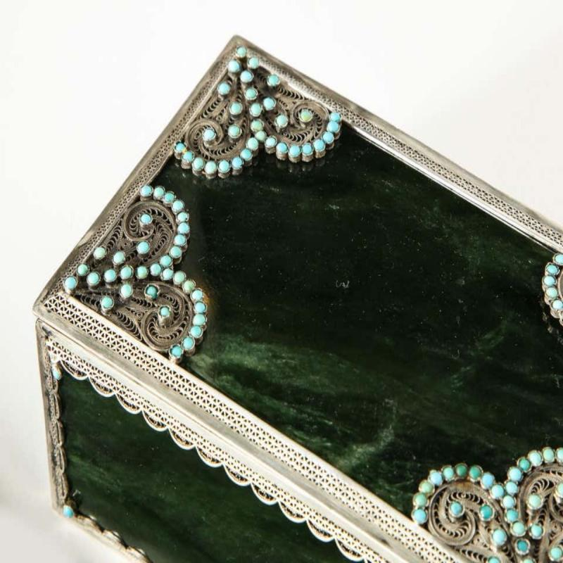 Filigree Sterling Silver-Mounted Nephrite and Turquoise Rectangular Table Box