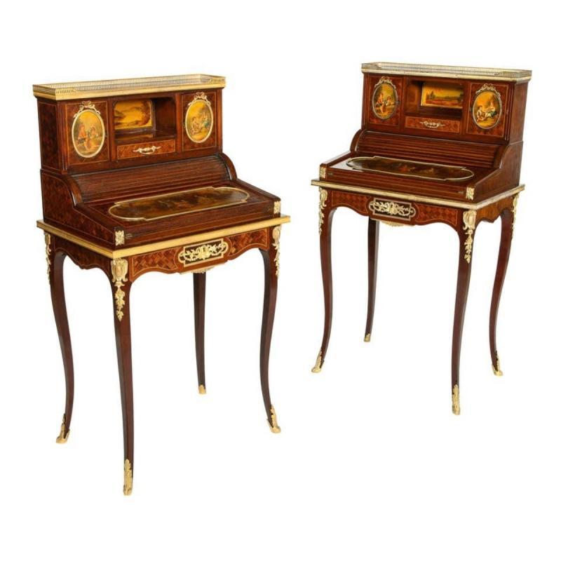 Pair of Louis XVI Style Bronze and Vernis Martin Bonheur Du Jours, P.E Guerin NY