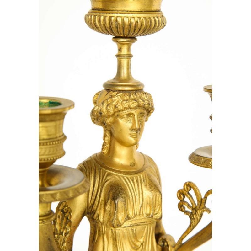 Pair of French Ormolu Bronze and Verde Antico Marble Three-Light Candelabra