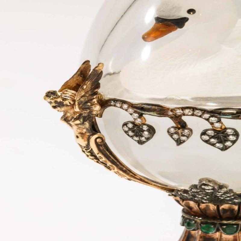Russian 14-Karat Gold, Diamonds, Emeralds, Lapis Lazuli and Glass Egg with Swan
