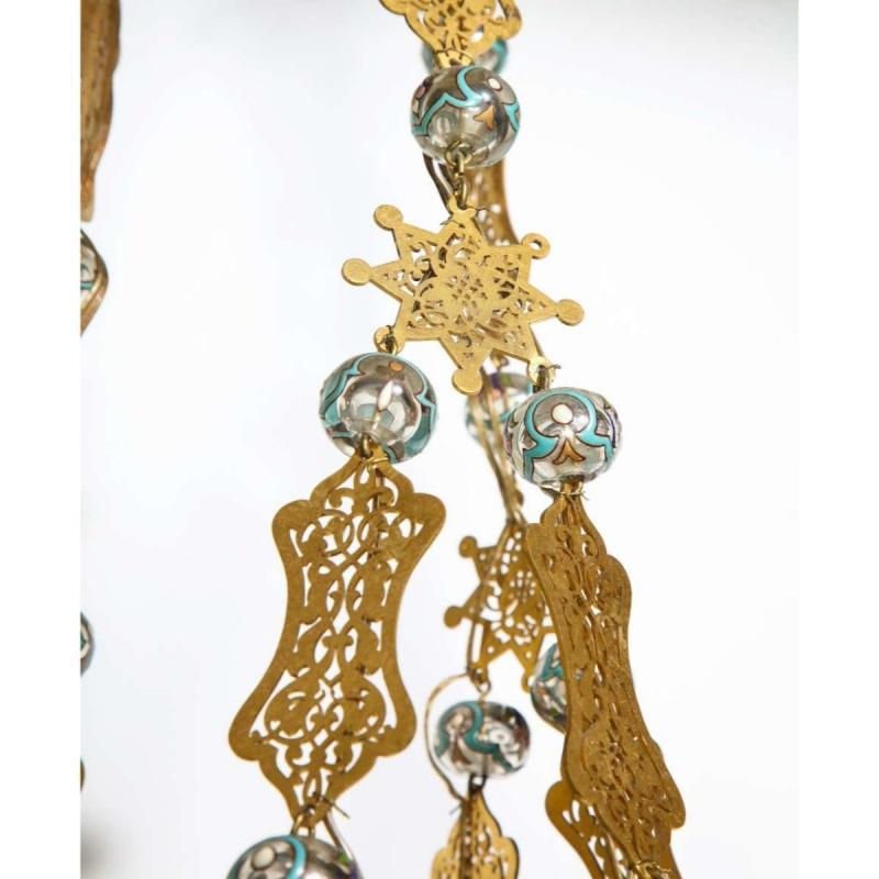 Exceptional and Rare Islamic Alhambra Bronze and Enameled Glass Chandelier