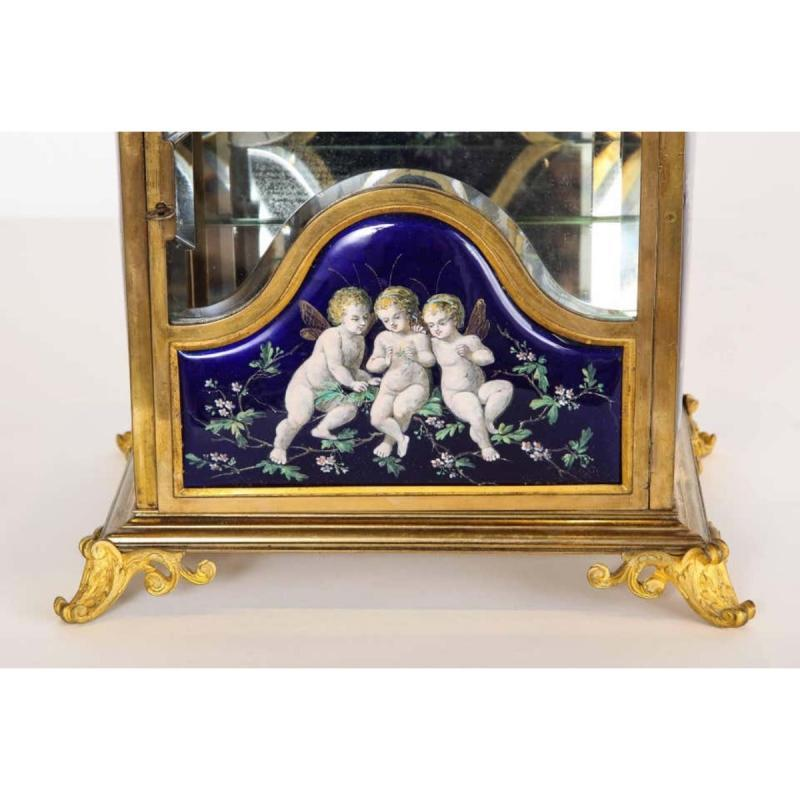 A French Bronze and Limoges Enamel Jewelry Vitrine Cabinet with Clock,