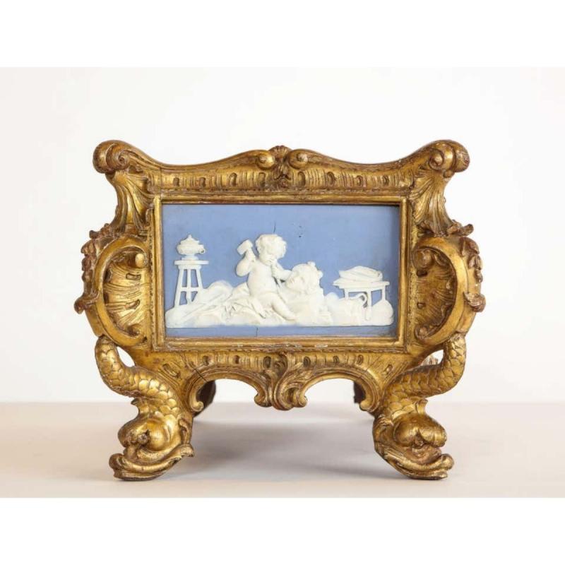 A Napoleon III Giltwood and Jasperware Wedgewood Centerpiece Jardiniere