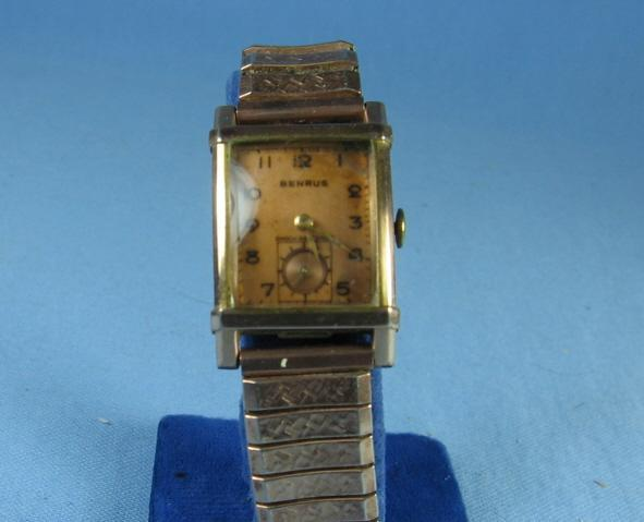 Art Deco BENRUS Wristwatch Watch w Gold Face - Vintage jewelry