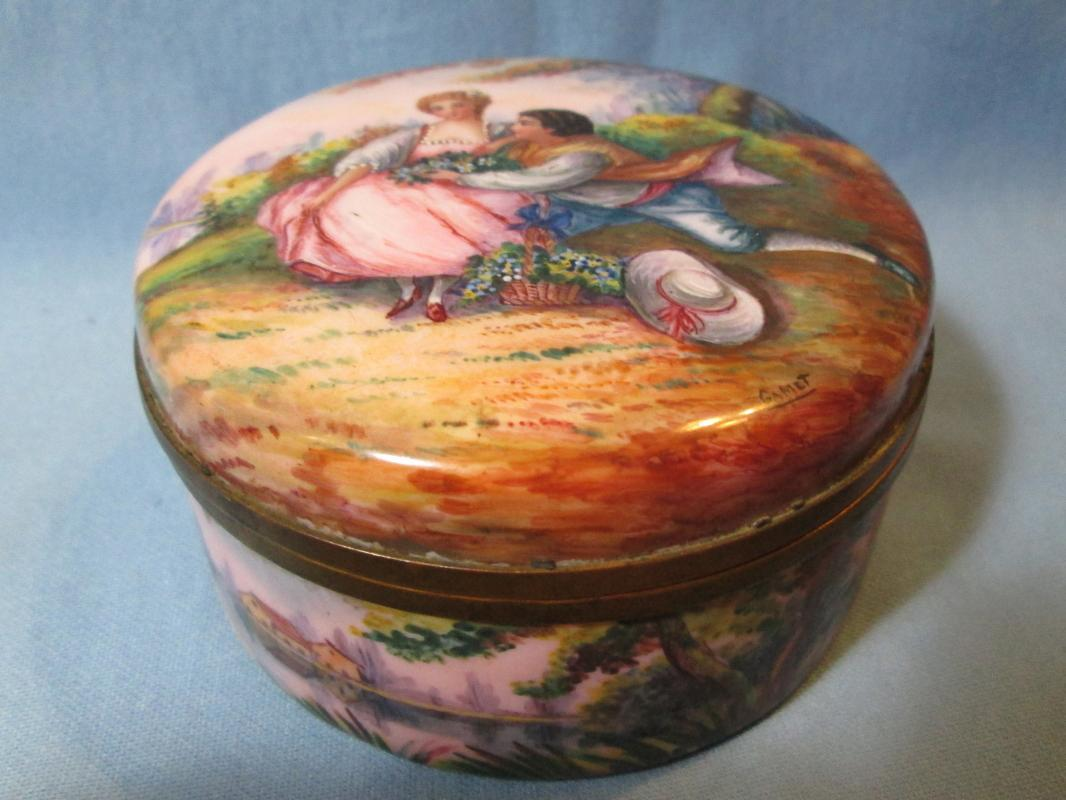 French Enamel Enameled  Box - 19th C Antique Hand Decorated