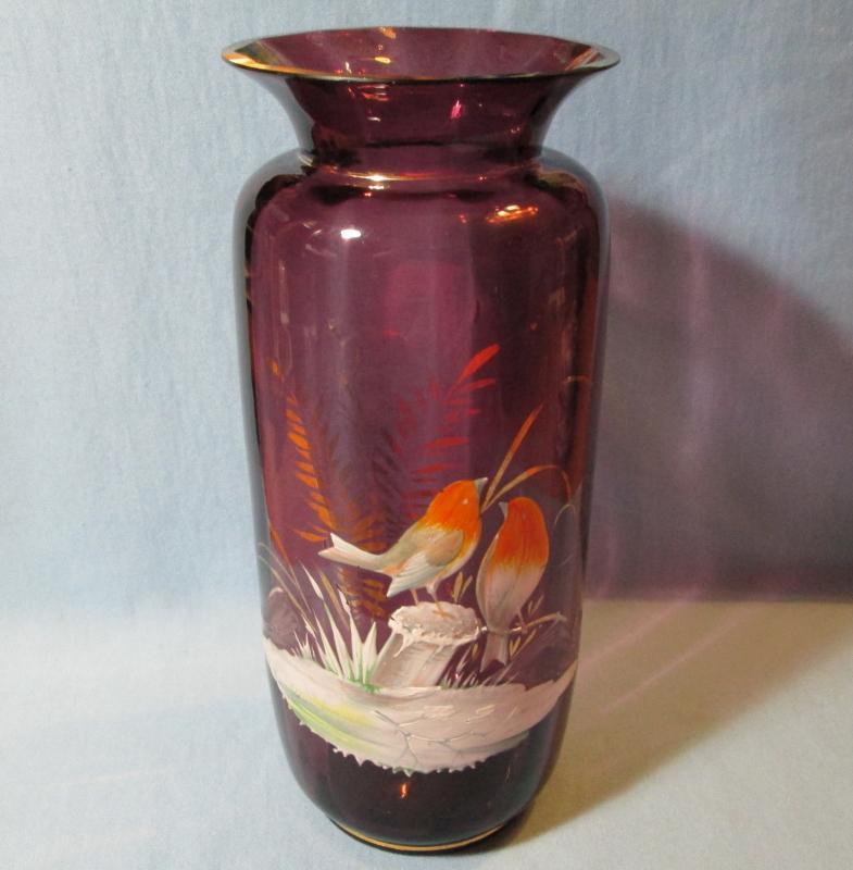 Enameled BIRDS on Amethyst Art Glass ~ Flared Rim Vase