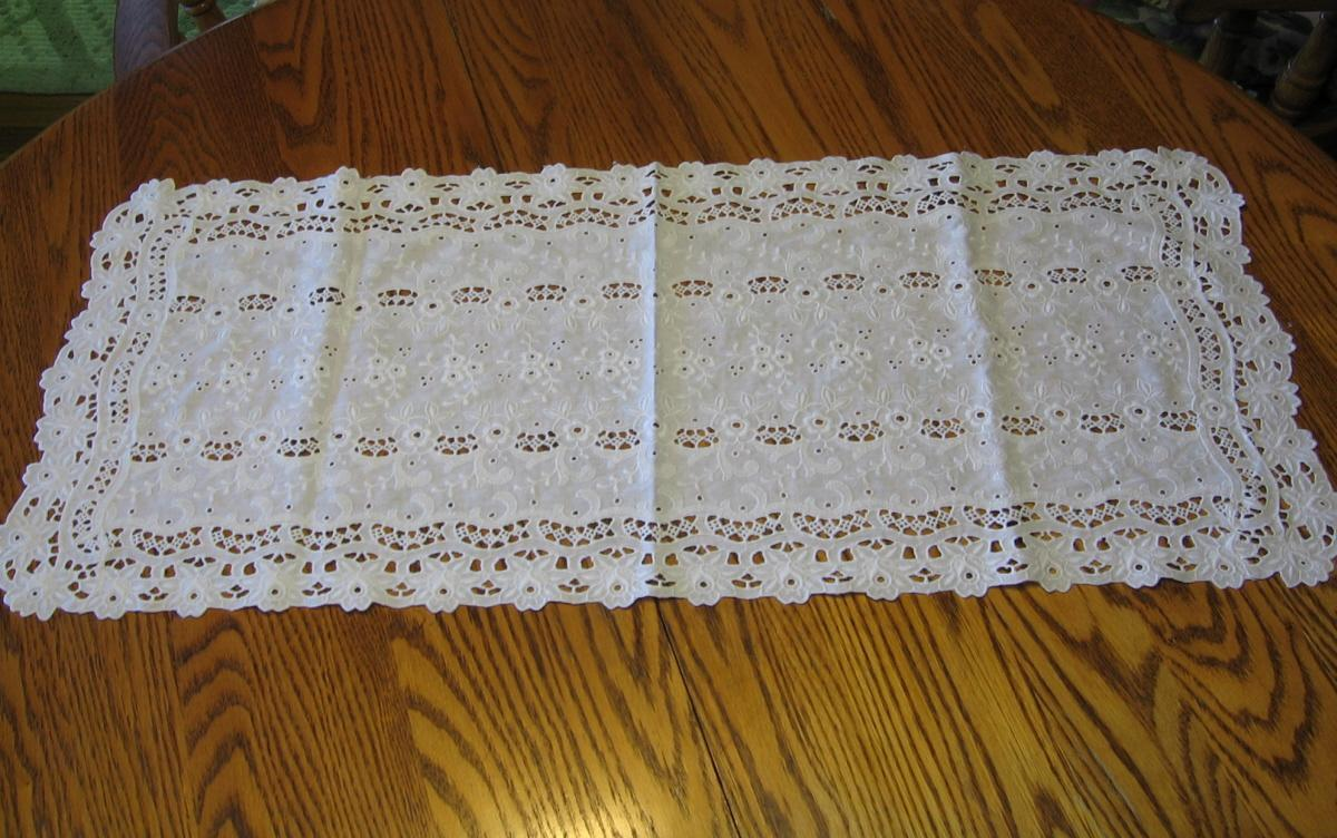 Open Work Embroidered Table/Buffet Runner or Dresser Scarf - Antique Textile