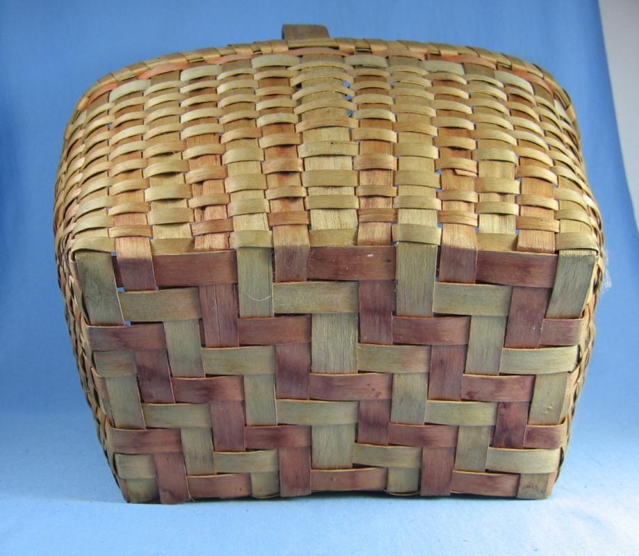 Splint Wood Basket Native American Indian Woven Handled  Basket - Vintage 1930's  Ethnographic