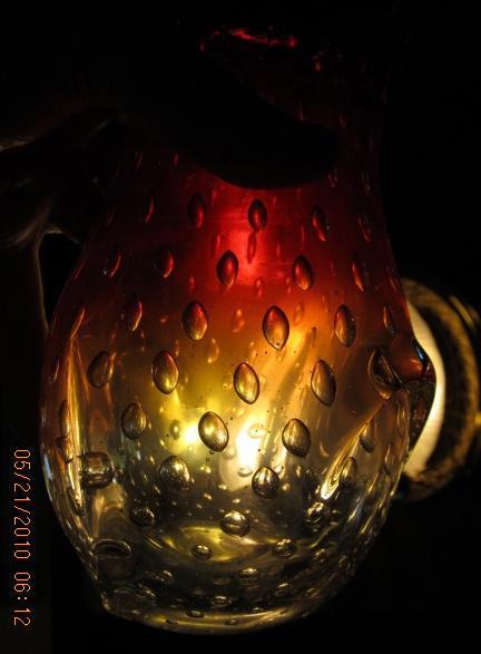 Amberina Bubble Art Glass Vase