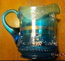 Blue Pressed Glass Enameled Cream Pitcher
