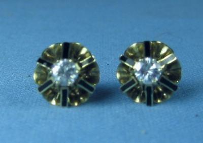 STUNNING Enameled 14k Gold & Diamond Earrings -  3/4 carat total weight