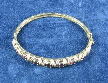 Genuine GARNET 14k Yellow Gold Bangle Bracelet - Antique Gold Jewelry