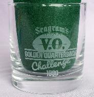 Two SEAGRAM'S V.O. Golden Quarterback Challlenge 1990 Cocktail Glasses in Original Boxes - Sporting