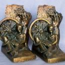HUCKLEBERRY FINN Cast Metal Bronzed Bookends - Metalware