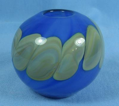 Nashama Art Glass Paperweight Vase - Glasner Decorated on Blue
