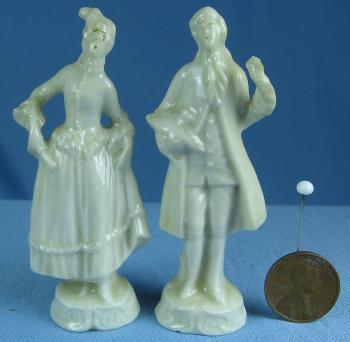 Mini Miniature Victorian Man & Woman Figurines - Vintage Porcelain Mini