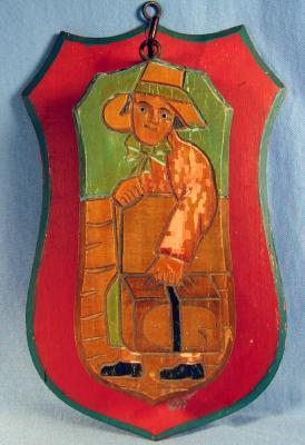 Anri Hand Carved Wood CLOTHING BRUSH with Wall Plaque  - Vintage Folk Art