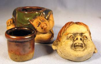 Sumida Gawa Boy Figural INKWELL -  RARE Antique Vintage Ethnographic Pottery