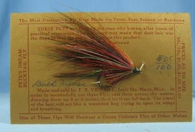 old Hand Tied Fly Fishing Lure - SNORTING BUCK  - Trout Bass Salmon Rainbow Fish  Bait - Vintage sporting
