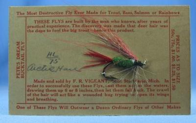 old Vintage Fly Fishing Bait Lure - Hand Tied ARTIC HARE   Buck Tail Fly - Vintage Sporting