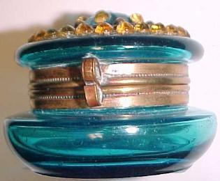 Blue Patch Box with Stone - Glass