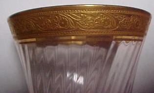 Tiffin Gold Encrusted Pink Stemware Wine - Glass