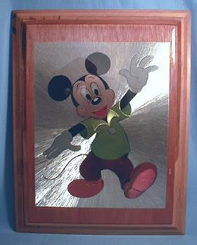 Mickey Mouse Plaque - Vintage Walt Disney Wooden Plaque with Foil Backed Print