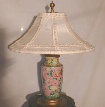 Oriental Asian Art Pottery Lamp - Incised Antique Lighting