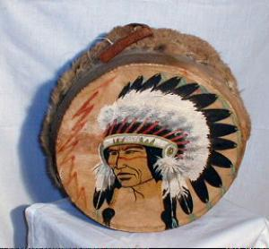 Native American Indian Drum - Antique Hand Painted Ethnographic