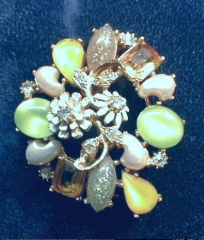 Florenza Multi-Color Brooch - Lemon/Seafoam Green/Pearl/Enamel & Rhinestone Vintage Costume Jewelry Pin