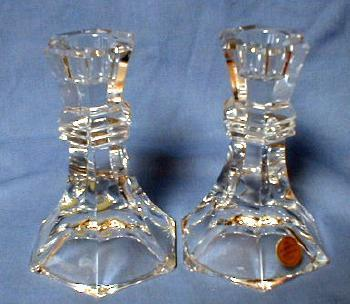 Bleikristall Crystal Candlesticks -Vintage Glass Pair