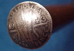 Letter Opener  Australian Three Pence 1943 Trench Art - Metalware