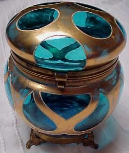 Art Deco Blue Powder Box - Glass