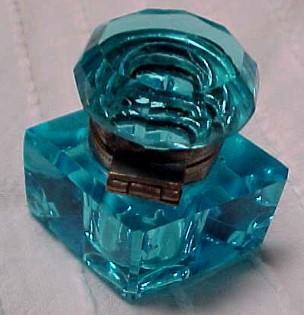 Cut Blue Diamond Inkwell Ink Well - Glass