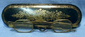 Victorian Enameled Papier Mache Eyeglass case with Spectales - misc
