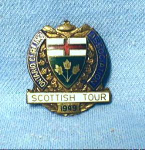old 1949 Ontario Curling Pin - Scottish Tour - Enameled Sporting Metalware