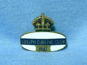 old 1941 GUELPH Curling Club - Canada Enameled Sporting Metalware