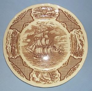 MEAKIN Staffordshire FAIR WINDS, FRIENDSHIP OF SALEM Decorative Pottery Plate