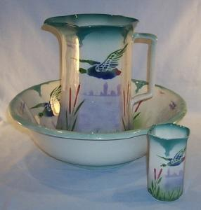 English DUCK Design Porcelain Water Pitcher & Bowl Set