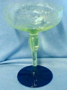 Antique Vaseline & Cobalt Art Glass - Compote or Large