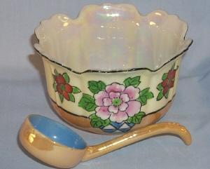 Beautiful Hand Painted Lustreware Porcelain Mayonaise Bowl with Matching Ladle