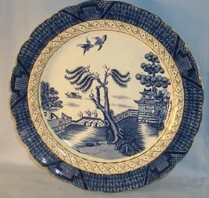 English Willow FLOW BLUE Porcelain Plate