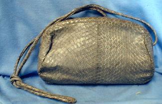 old Mario Valentino Snakeskin Leather Clutch Shoulder Purse -  Vintage Designor Handbag Purse -  misc