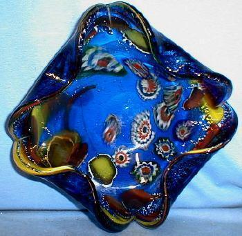ART GLASS  Millefiori Cobalt Blue Murano Glass Bowl - Awesome Art Glass