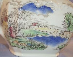 Colorful English Country Scene Porcelain Tea Pot