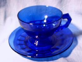 Heisey Cobalt Glass Cup and Saucer set