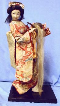 Oriental Geisha Girl Doll w/Ceremonial Skull Cap with Hair - Ethnographice Figure