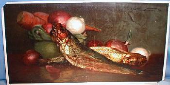 1894 Print FISH & Vegetables - A MORNING RELISH - Chicago Tribune Art Supplement