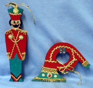 Christmas ornament Toy Soldier & Horn  - Vintage Holiday Figural Soldier and Music Horn - misc