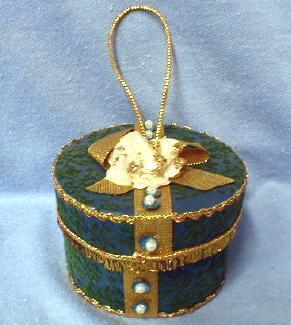 Christmas decoration HAT BOX Ornament - Vintage Figural Hat Box   - German Holiday Misc